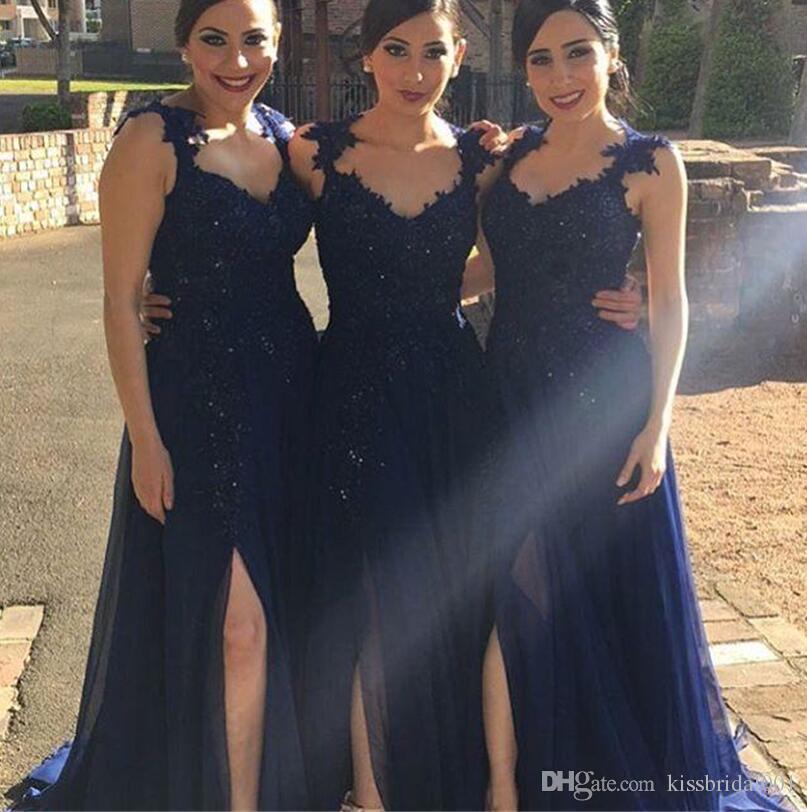 Vestidos De Dama De Honra Do Laço Azul marinho Perna Dividir Formal Evening Prom Vestidos Com Lantejoulas Beading Querida Pescoço Zip De Volta Tecido Chiffon