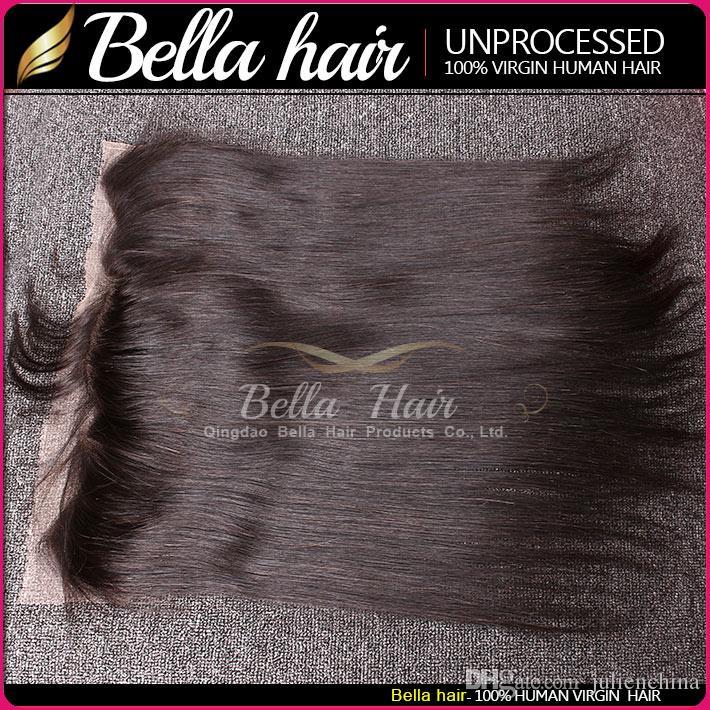Bella Hair® Braziliaanse haarbundels met sluiting oor aan oorkant frontale sluiting zijdeachtig rechte lichaam wave haar weeft met kant sluiting