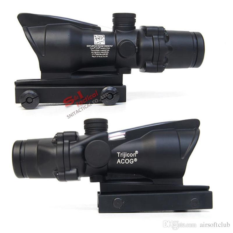 TACTICAL TRIJICON ACOG 4x32 Волоконная оптовая оптическая опэпс с Real Red / Green Fiber Crosshair Reflescopes поставляются с убийством Flash