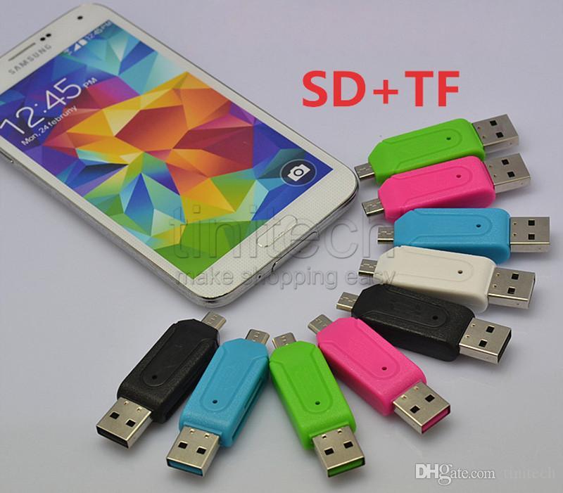 USB Erkek Mikro USB 2 1 OTG Adaptörü ile TF / SD Bellek Yuvaları Kart Okuyucu Android Smartphone Tablet Samsung için Google