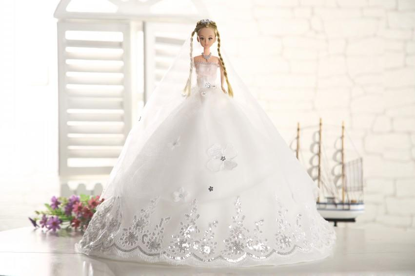 White Wedding Dress Barbie Doll 45cm High Oranza Lace Bridal Dolls Girl Birthday Gift Toys For Events Table Decorations More Cheap