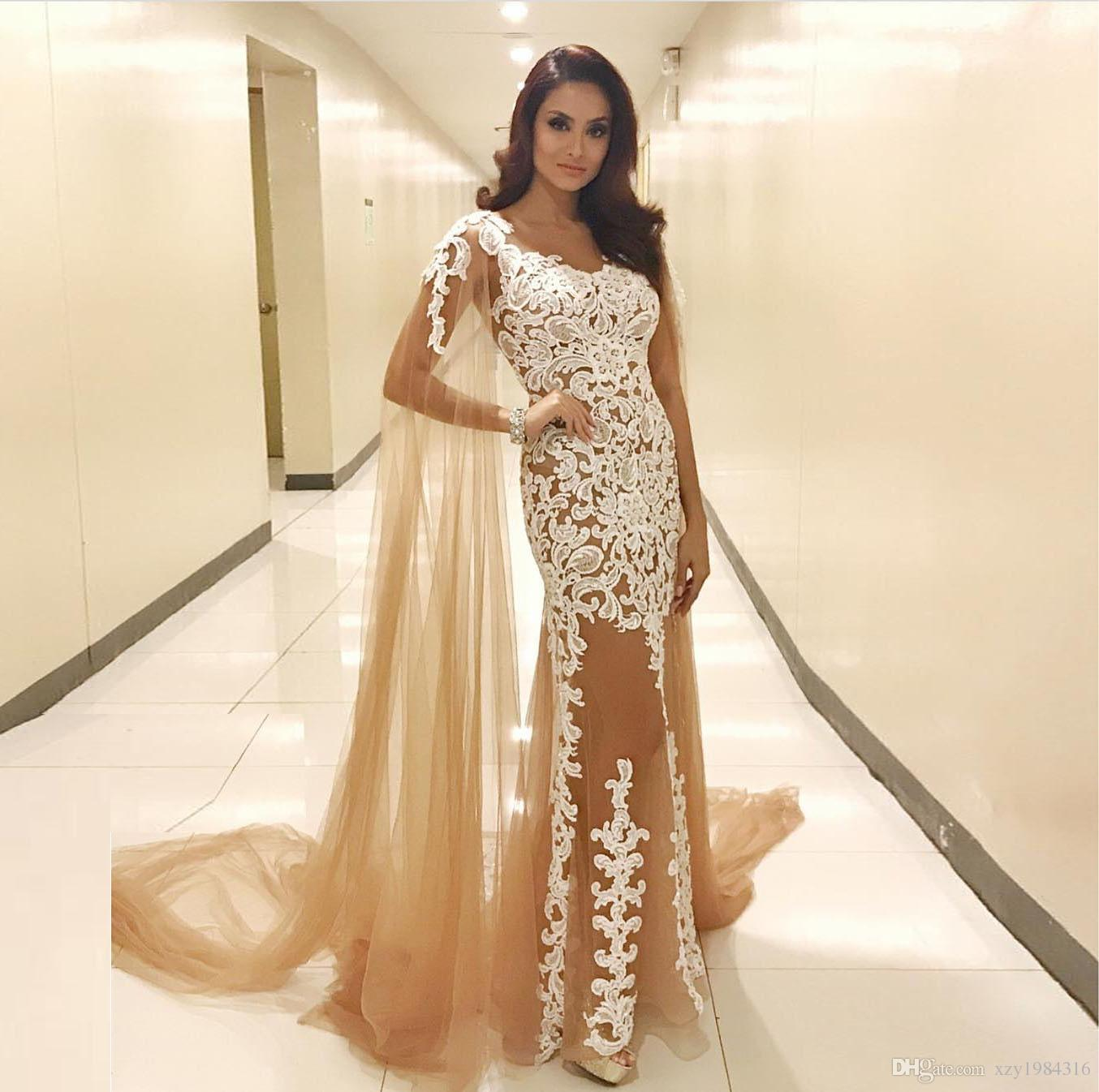 Glamorous Champagne Evening Dresses With Shawl See Through V Neck Lace  Appliques Tulle Prom Dress Sexy Mermaid Long Evening Party Gowns Le Chateau  Prom ... f7cb61f11