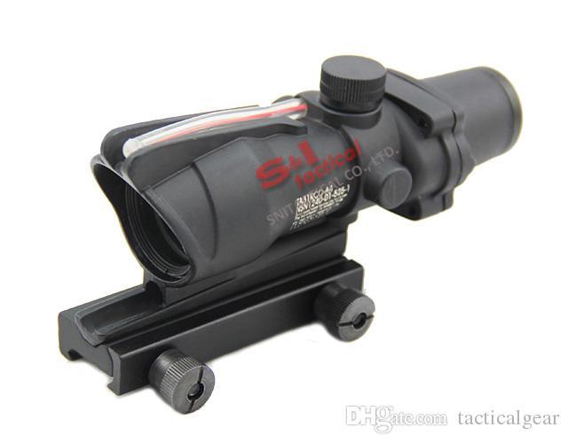 ACOG التكتيكية 1x32 مصدر الألياف ريد دوت نطاق مع ريال الأحمر نطاقات بندقية الأسود