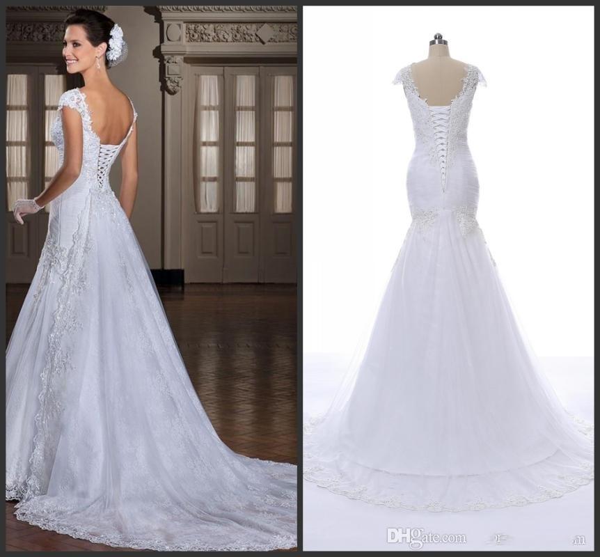 2019 l'image réelle nouvelle robe blanche arrivée sexy bretelles perles appliques de sirène dos lier la robe de mariée mariée DE noiva 012