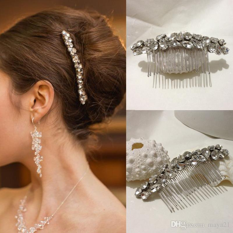 096d90d9cc Bridal Hair Combs Simple Long Strip Elegant Cystal Glass Beads Side Wedding  Comb Accessories Bridesmaid Prom Headpieces Bridal Comb