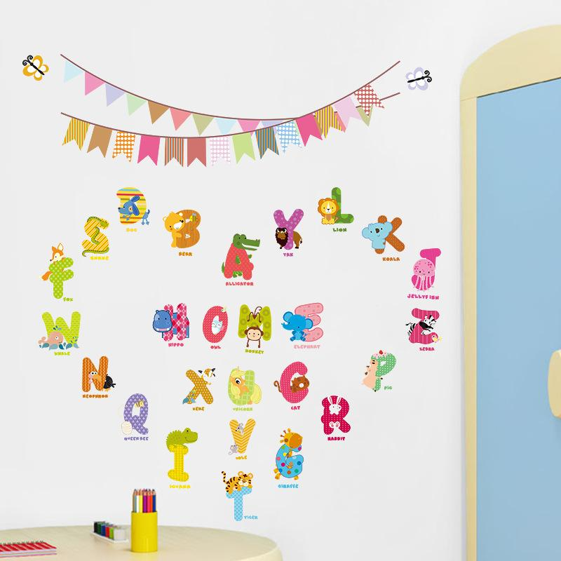 Cute Letters Colorful Flags Nursery Cartoon Wall Stickers Kids Room Decor  Diy Decals Baby Wall Decals Baby Wall Sticker From Flylife, $3.52|  Dhgate.Com