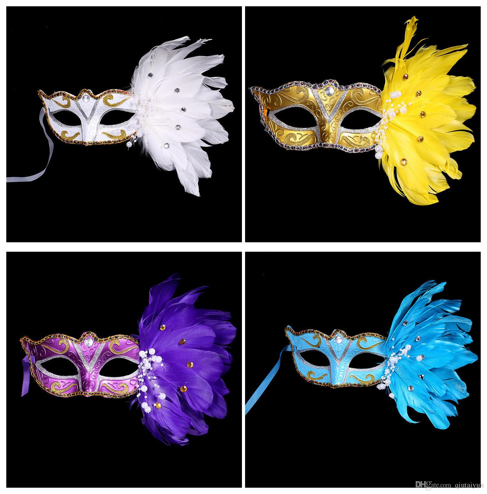 Masquerade Masks Half Faces Venetian Mask With Feather Mardi Gras ...