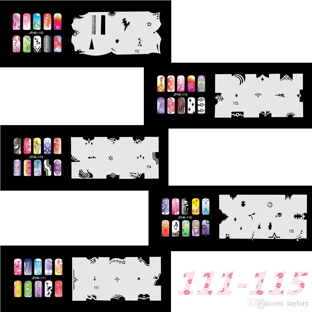 New Fashion Airbrush Nail Stencils Set 111-120 Tools Diy Airbrushing 10 x  Template Sheet for Airbrush Kit Nail Art Paint