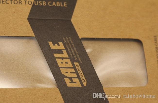 Universal usb charger cable kraft papel marrom papel retro pacote de varejo caixas de caixa de embalagem para o iphone 6 s plus 6 s samsung s7 s6 borda