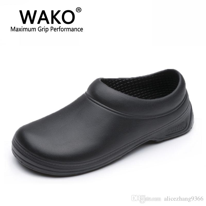 Superbe 2018 Wako 9031 Man Women Chef Shoes Black Super Anti Slip Kitchen Shoes  Male Female Cook Safety Shoes Non Skidding Chef Sandals Size 36 45 From ...
