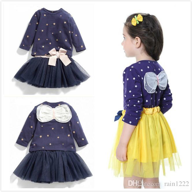 aacc5b1fa2 2019 Girls Clothes Tutu Skirts Clothing Sets Children Kids Long Sleeve Back  Bow T Shirts Tutu Skirts Suits Princess Dot Tops Skirts Outfits From  Rain1222, ...
