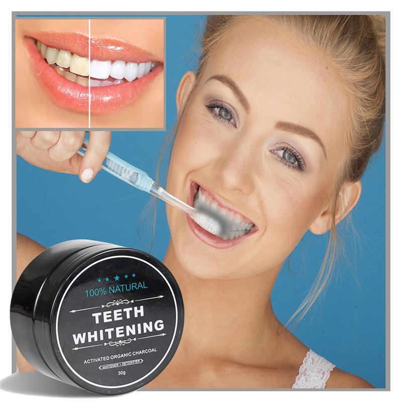 Avec la boîte de vente au détail! Blanchiment des dents Poudre Poudre Nature Bamboo Sourire à charbon actif Poudre de décontamination Dessin dentifrice Dessus Oral Hygiène 30g