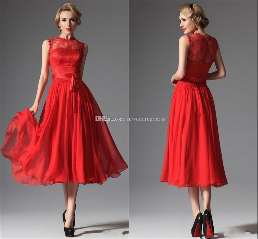 2015 New Red Tea Length Prom Dresses Lace Chiffon A Line Crew Neck ...