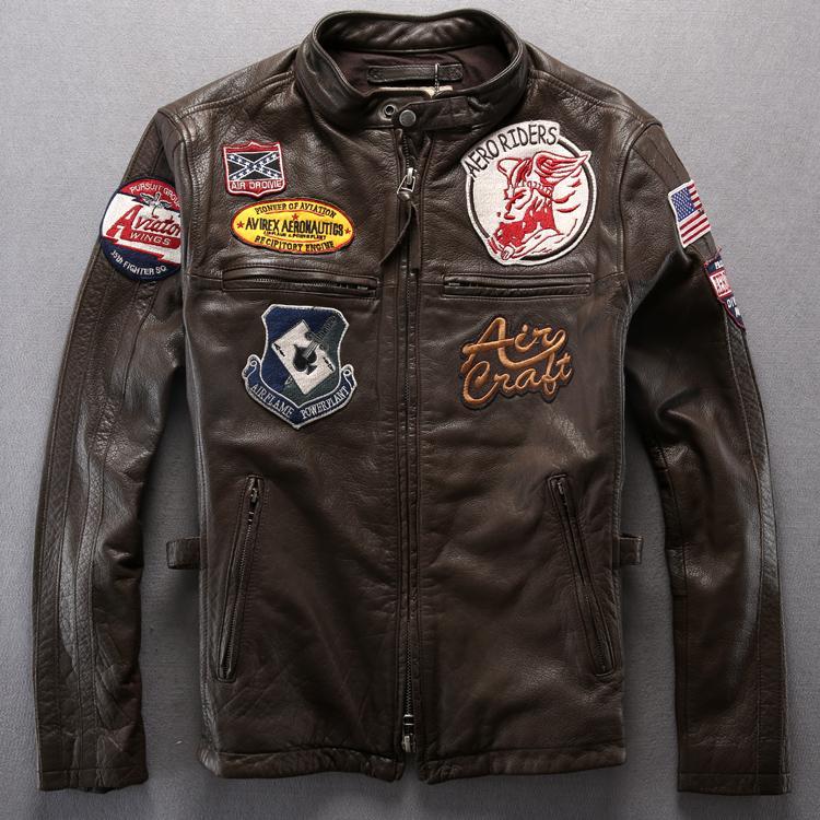 new style 0d078 6aab1 Giacca in pelle uomo AVIREX AERONAUTICS Distintivi abbigliamento moto in  pelle di vitello giacca da viaggio stile moda punk slim