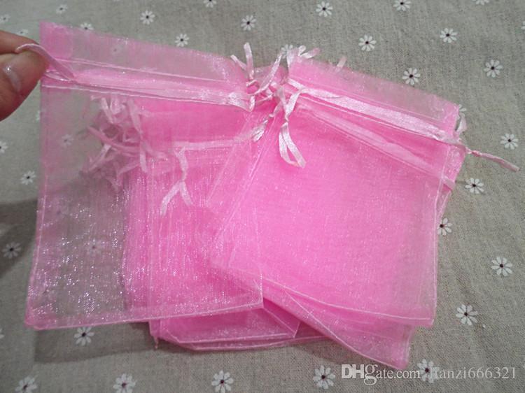 Vente en gros Bijoux Sacs mixtes Bijoux Bijoux Mariage Partie de mariage Noël Sacs cadeaux pourpre bleu rose jaune noir avec cordon de cordon 7 * 9cm