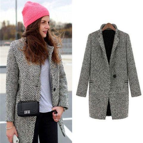 2017 Women Winter Coat Female Wool Outerwear Grey Navy Plus Size ...