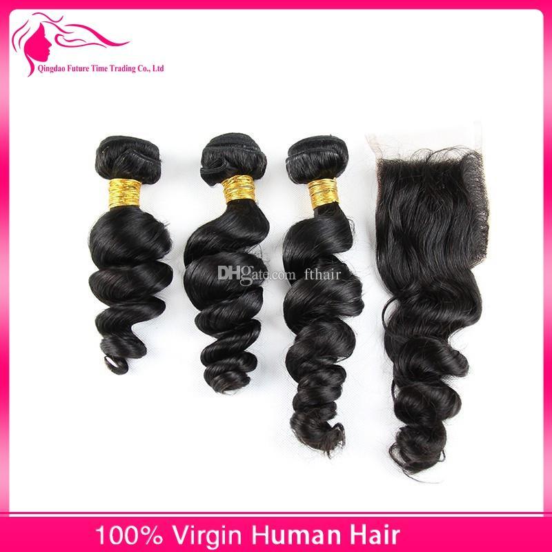 Chiusure del tessuto dei capelli umani peruviani dell'onda sciolta Estensioni dei capelli del Virgin 4 Bundles dei capelli con Chiusura superiore del merletto trasporto libero del DHL libero