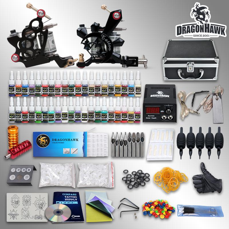 Beginner tattoo starter kits 2 guns machines 40 ink sets equipment power  supply grips tips needles 10-24GD-1