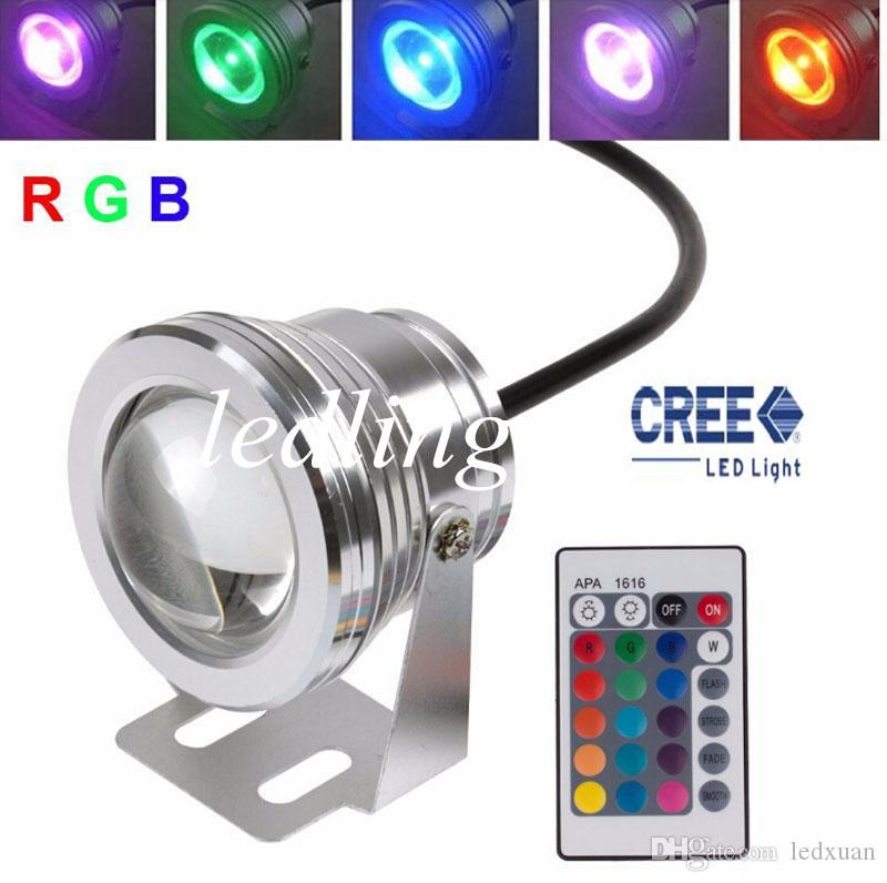 10w 12v Underwater Rgb Led Light 1000lm Waterproof Ip68 Fountain Pool Lamp Lights 16 Color Change 24key Ir Remote Controller Led Underwater Lights