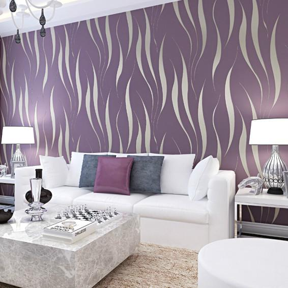 Marvelous 3D Non Woven Wallpaper Modern Minimalist Purple Red Wavy Stripes Wallpaper  Bedroom Living Room TV Background Part 3