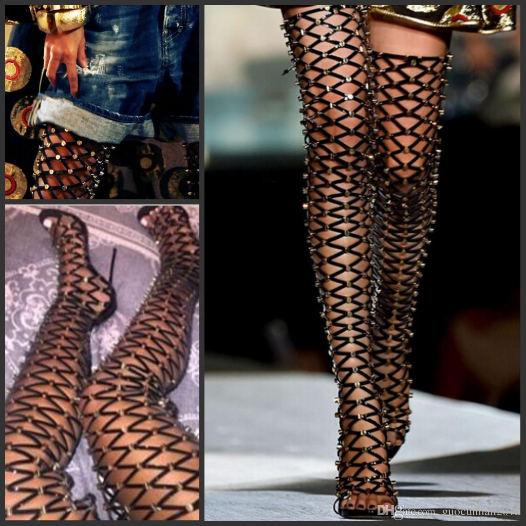 T-shown Gladiator Summer Style Women Sandals Boots Rivets Studs ...