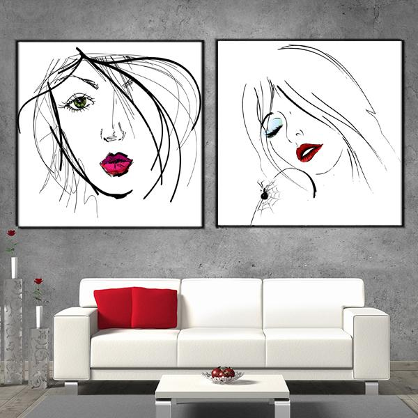 2018 Abstract Simple Portraiture Black White Red Art Painting On Canvas Modern Printed Wall For Living Room Bedroom From World View 805
