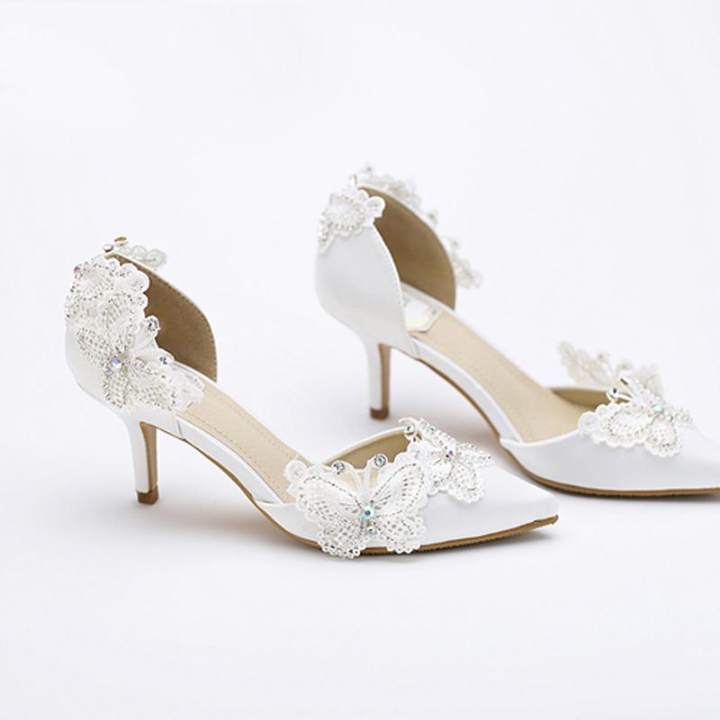 Kitten Heel Pointed Toe Bridal Shoes Women White Satin Pumps