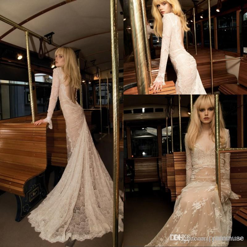 Inbal Dror 2017 Best Selling Wedding Dresses With Long Sleeves Champagne Sexy Backless Mermaid Floor Length Court Lace Bridal Gowns Em02740 Short