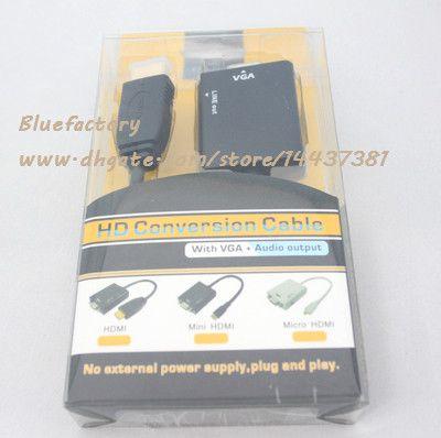 HDMI zu VGA mit Audiokabel 1080p HD Konvertierungskabel Konverter Audio Ausgang männlich zu weiblich Adapter für PC Monitor Projektor TV Xbox 360