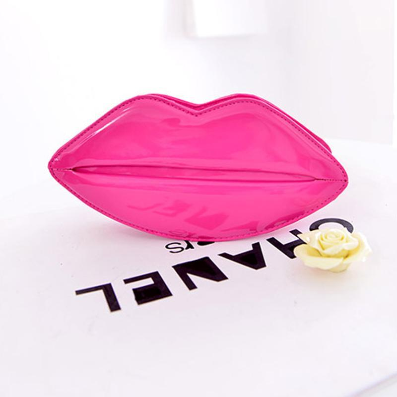 2016 Popular Sexy Women Lady Clutch Chain Shouder Bag Evening Party Lip Shape Purse Satchel Black Red Pink