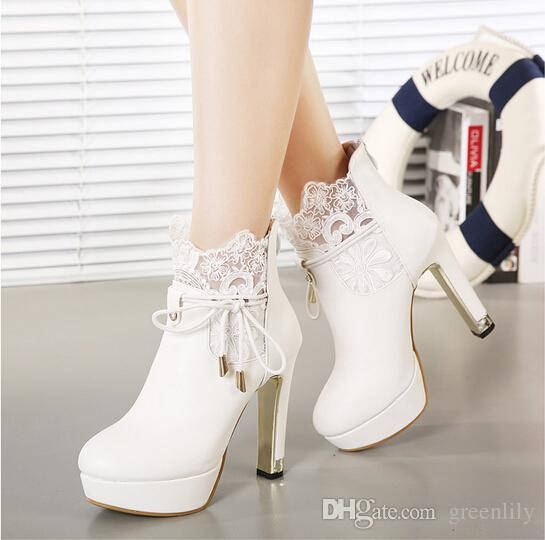 Exquisite Warm Winter Leather Wedding Boots High Heeled 12cm Shoes Winter Black White Lace Boots Size US 4-8