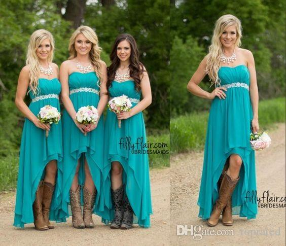 2016 Turquoise Bridesmaid Dresses For Wedding Cheap High Low