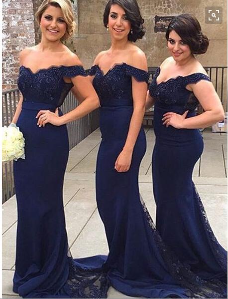 Sexy Off The Shoulder Beaded Appliqeus Zeemeermin Sheer Lange Bruidsmeisjes Jurken Donkere Rode Navy Blue Prom Jurken Mermaid Party Jurken 2016