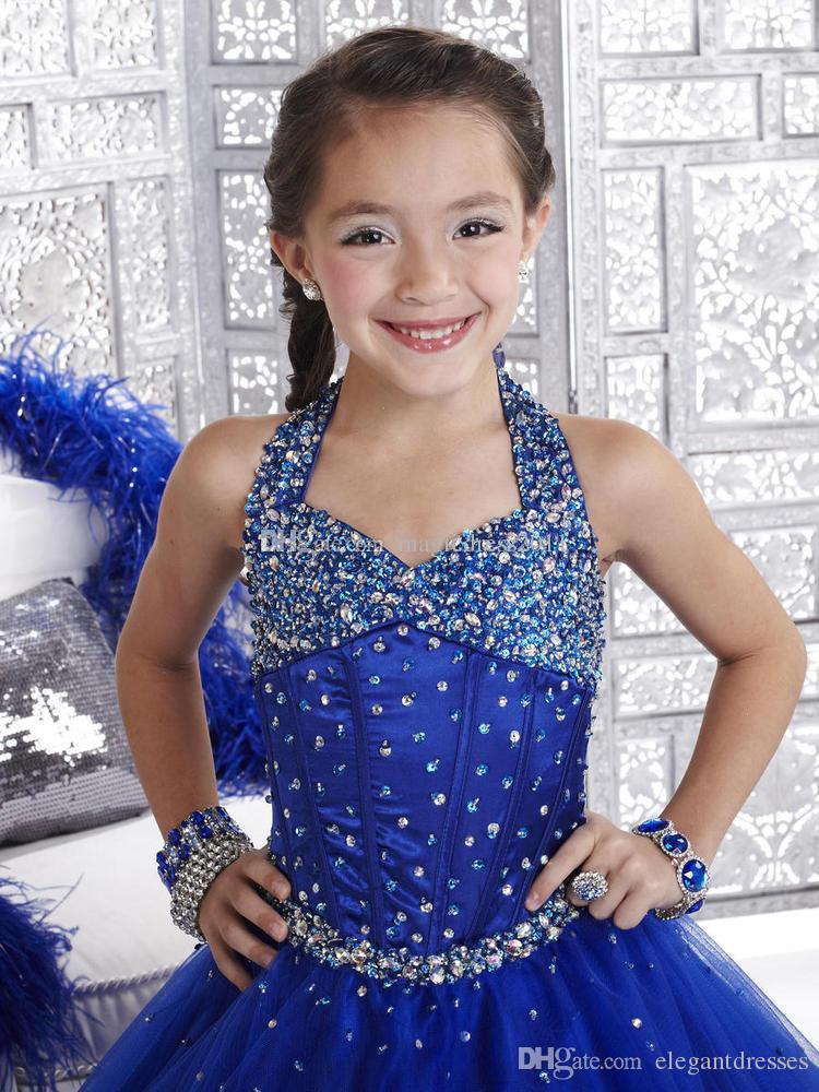 New Girl Pageant Kleid 2021 Kristall Royal Blue mit Reißverschluss zurück Rüschen Blumenmädchen Prinzessin Gowns Formale Kleider für Mädchen