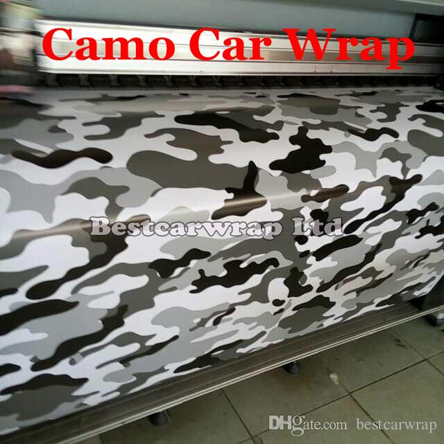2019 Arctic Camo Vinyl Black White Grey Car Wrapping With
