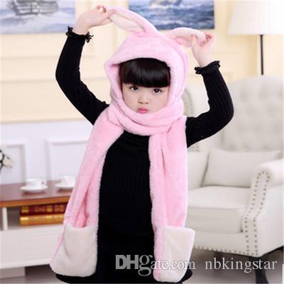Kids Winter Warm Fleece Rabbit Hood Scarf 3 in 1 Gloves Earflap Hat Animal Long Scarf for Children