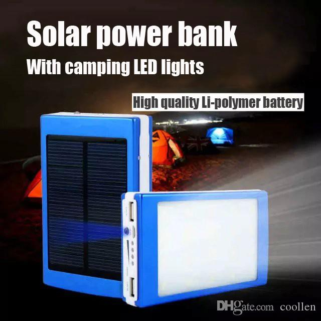 2017 hot sale 20000 mAh Cargador Portatil Solar Power LED camping lantern Bateria Pack Energy Bank Sun Battery Charger Powerbank