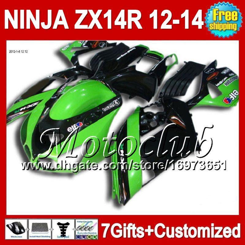 7diversos Para KAWASAKI NINJA ZX-14R 2012 2013 2012 2013 Verde negro ZX 14 R 25C67 ZX 14R 12-13 ZX14R 12 13 Verde de acciones 12 13 ZX14 R Carenado