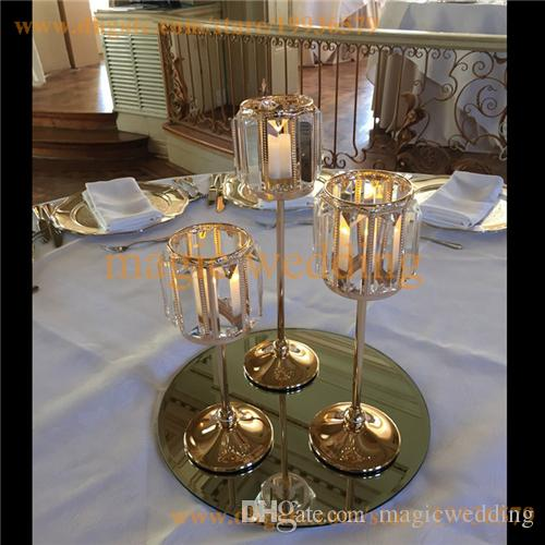 Set of 3 Gold Sparkle Tapers crystal candle holder Metal Candle Stand Wedding centerpieces