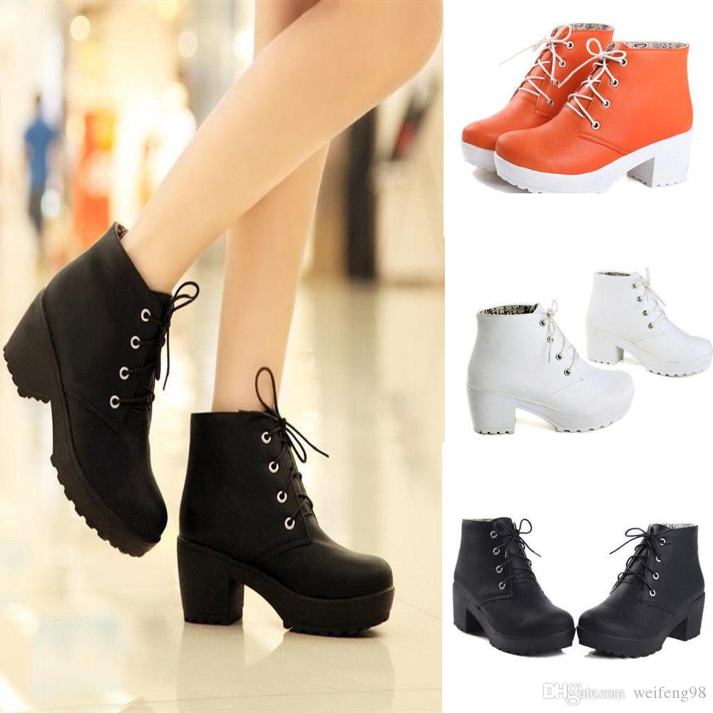 Women'S Round Toe Lace Up Chunky Platform Block Heels Oxford Shoes ...