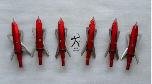 archery hunting rage broadheads arrowheads arrow points 100 grain 2 blades red color