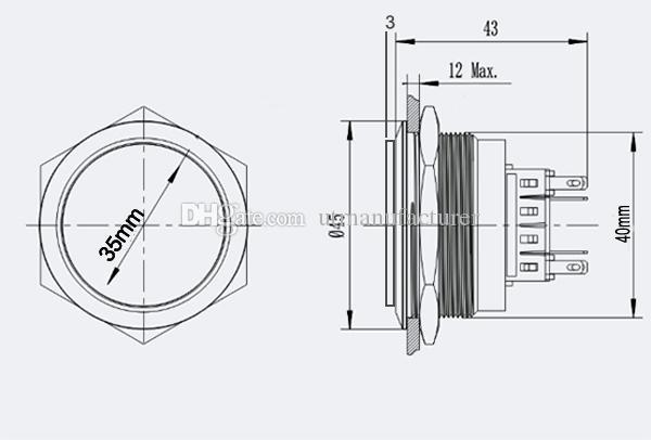무료 배송 40mm 금속 안티 반달 순간 푸시 버튼 리셋에 대한 방수 IP67 래칭 푸시 버튼 푸시 스위치, 오프 다시 밀어