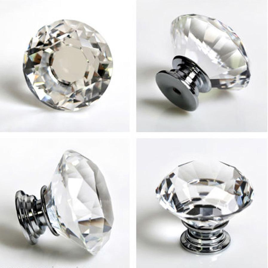 30mm Diamond Crystal Glass Alloy Clear Door Drawer Cabinet Wardrobe Pull Handle Knobs Wholesale