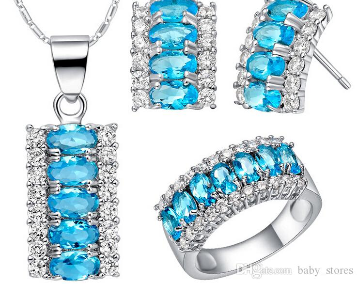 Discount Bridal Jewelry Sets Silver Crystal Necklace Jewellery Set