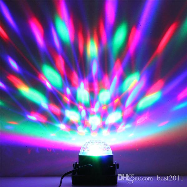 Auto Sound Control Magic Crystal Stage Lights Rotating Ball Effect RGB LED Light for KTV Xmas Party Wedding Show Club Disco DJ