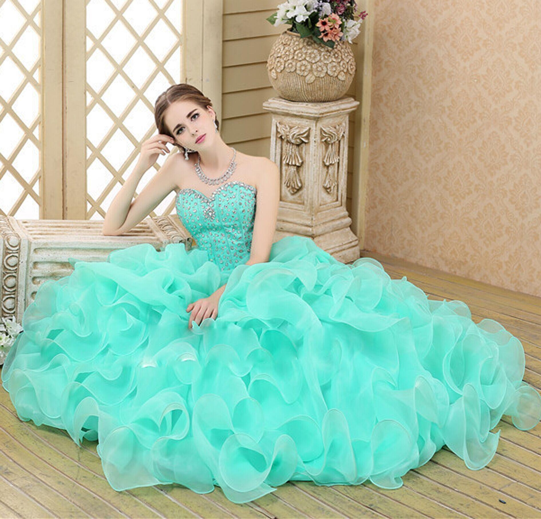 2015 Brand New In Stock Green Quinceanera Dresses Sweetheart Ball ...
