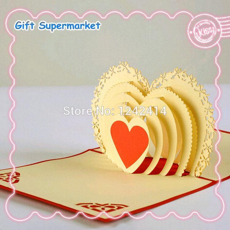 Greeting Cards 3d Pop Up Diy Handmade Creative Love Heart Design