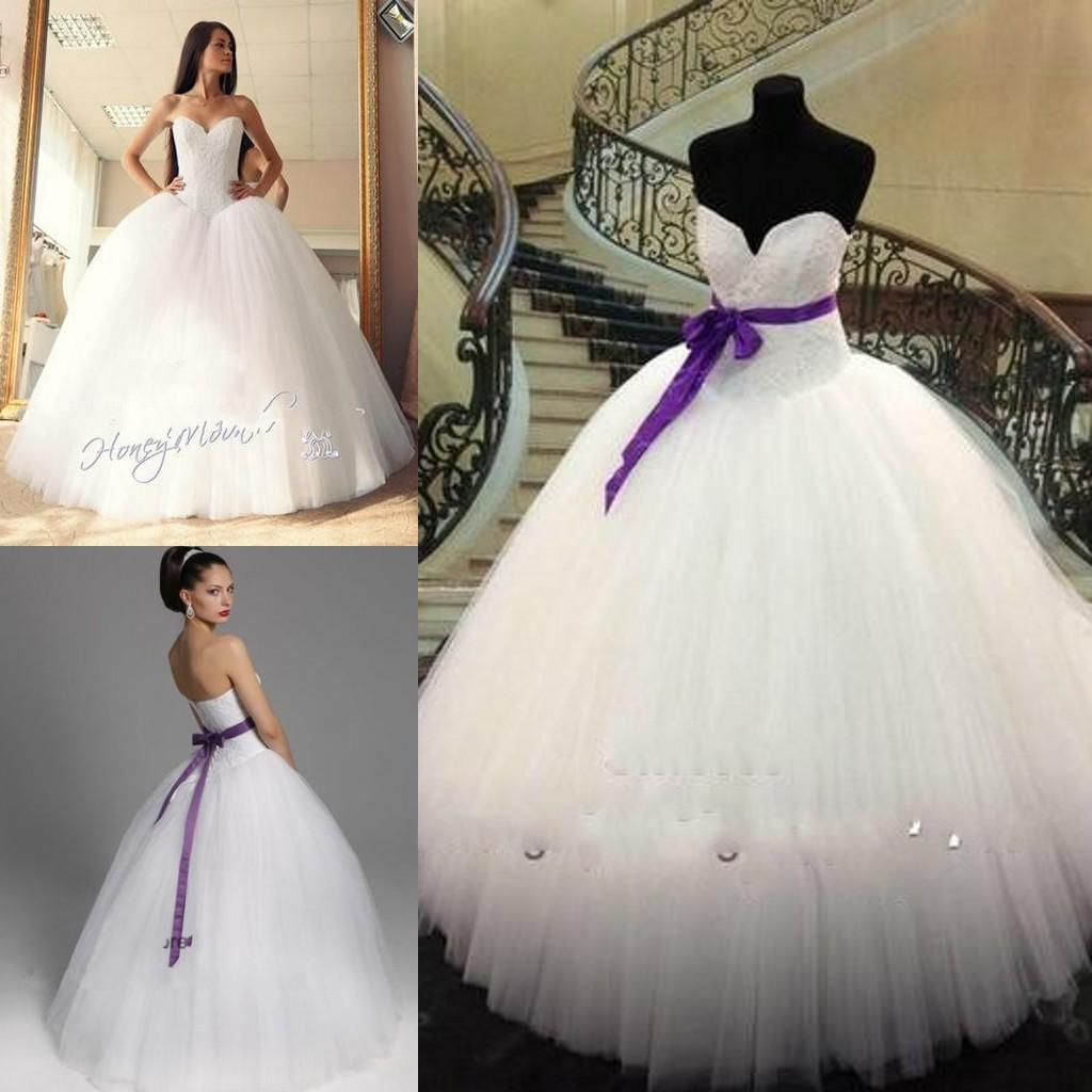 2015 White And Purple Ball Gown Wedding Dresses Vestidos De Novia ...