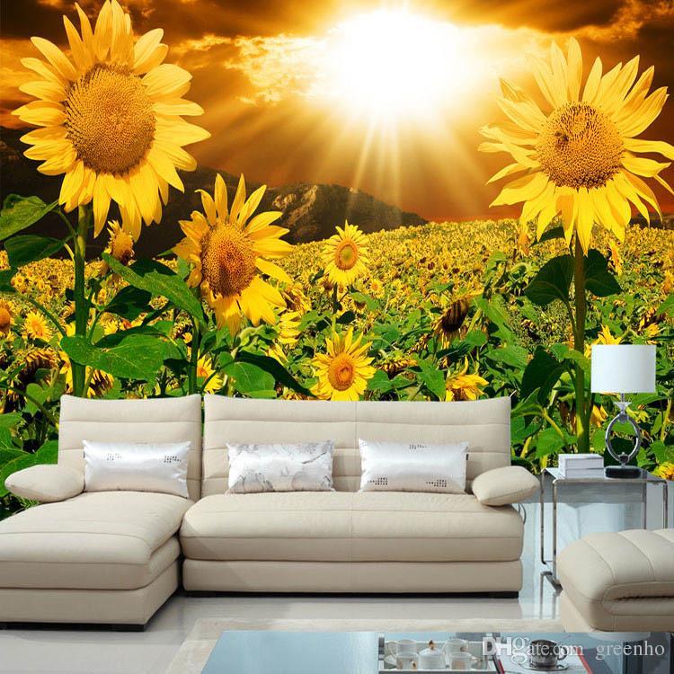 beautiful sunflower photo wallpaper natural beauty wall mural customize wallpaper home decor children room bedroom sofa tv wall photography desktop - Flower Wallpaper For Home
