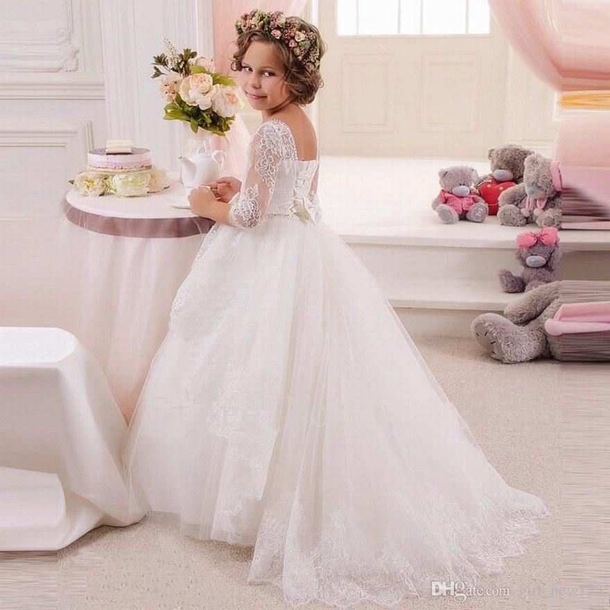 Nueva princesa Encanto FlowerGirl vestido, bodas dama de honor vestidos de flores niña, formal vestido de los niños del vestido de bola BS01